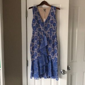 NWT Blue Lace Dress with Tan Liner, Size S